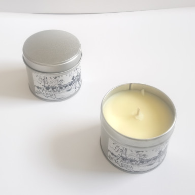 Bora Bora Tropical Paradise Island Holiday Travel Candle travel candle for paradise holiday getaways, tropical essential oils blends fragrance for home and caravan staycations, natural soy wax aromatherapy travellers candle, peppermint and citrus lime orange fragrance
