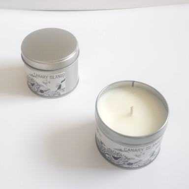 Canary Islands Tropical Paradise Island Holiday Travel Candle lime with lemongrass essential oils candle, uplifting powerful aroma for travellers and staycation holidays at home reminds you of a paradise island getaway from the tropics