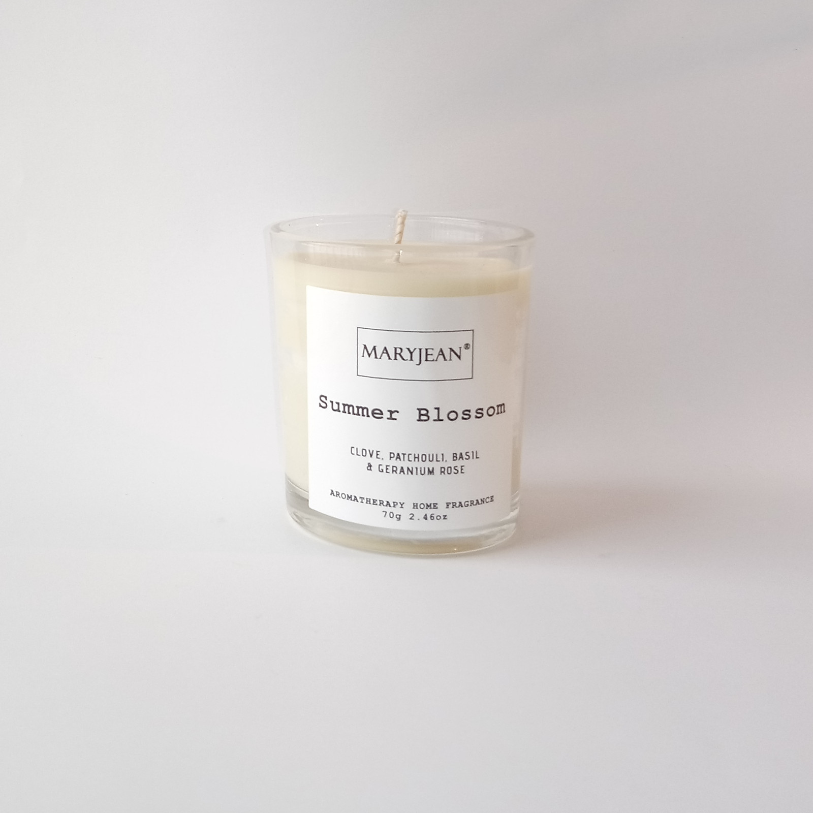 Natural Home Season's Summer Fragrance Hand Poured Small Luxury Soy Candle Warmest season of the year and a time people of carefree and fun long evenings on the patio with a customary candle for mood and pleasure