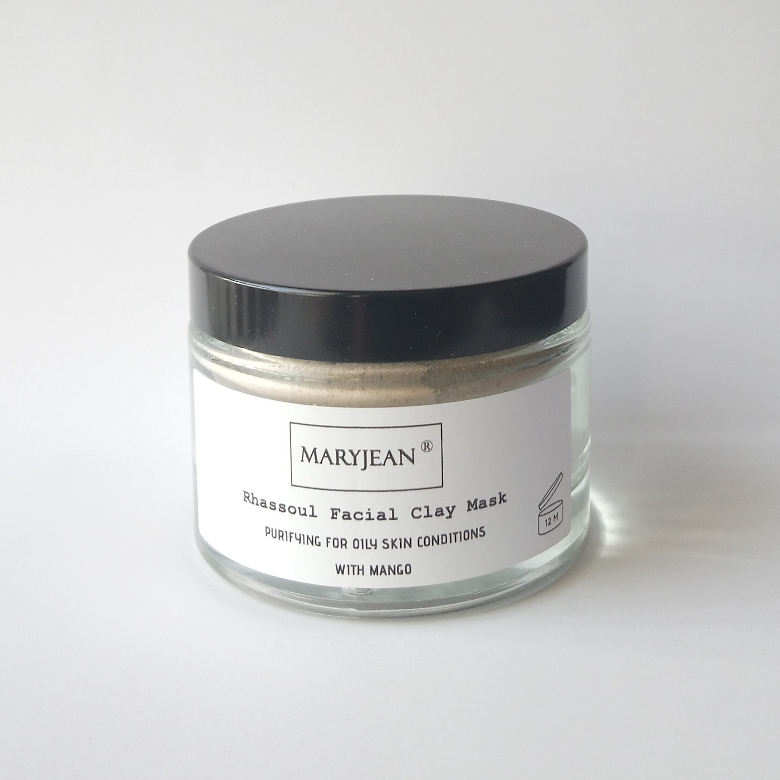 Purifying Rhassoul Clay Facial Mask for Oily Skin Conditions with Mango